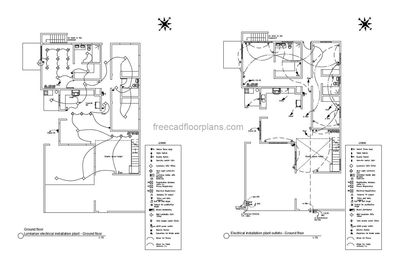 Complete electrical plan of a two level residence with all the details, electrical installations of light fixtures, outlets, calculations and electrical diagrams and panels for each level, plan in DWG AutoCAD format.