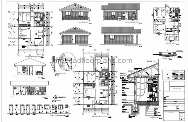 autocad plans of a small two bedroom low cost residence with all construction details, furnished floor plan, dimensioned, plans in dwg format for download.