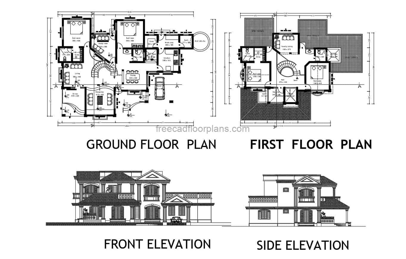 Architectural plans and dimensioning of large residence with four rooms in total, for free download in Autocad DWG format, furnished floor plan with Autocad interior blocks.