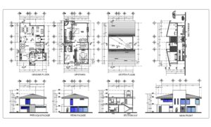 DWG floor plan of a two-level residence with four bedrooms, three bedrooms on the second level, including master bedroom, each with separate bathroom. First level interior layout with Autocad DWG blocks, living room, kitchen, dining room, one maid's room and laundry area, floor plan with dimensions and furnished floor plan, facades, cutouts and roof plan. Free AutoCAD DWG floor plan for download.