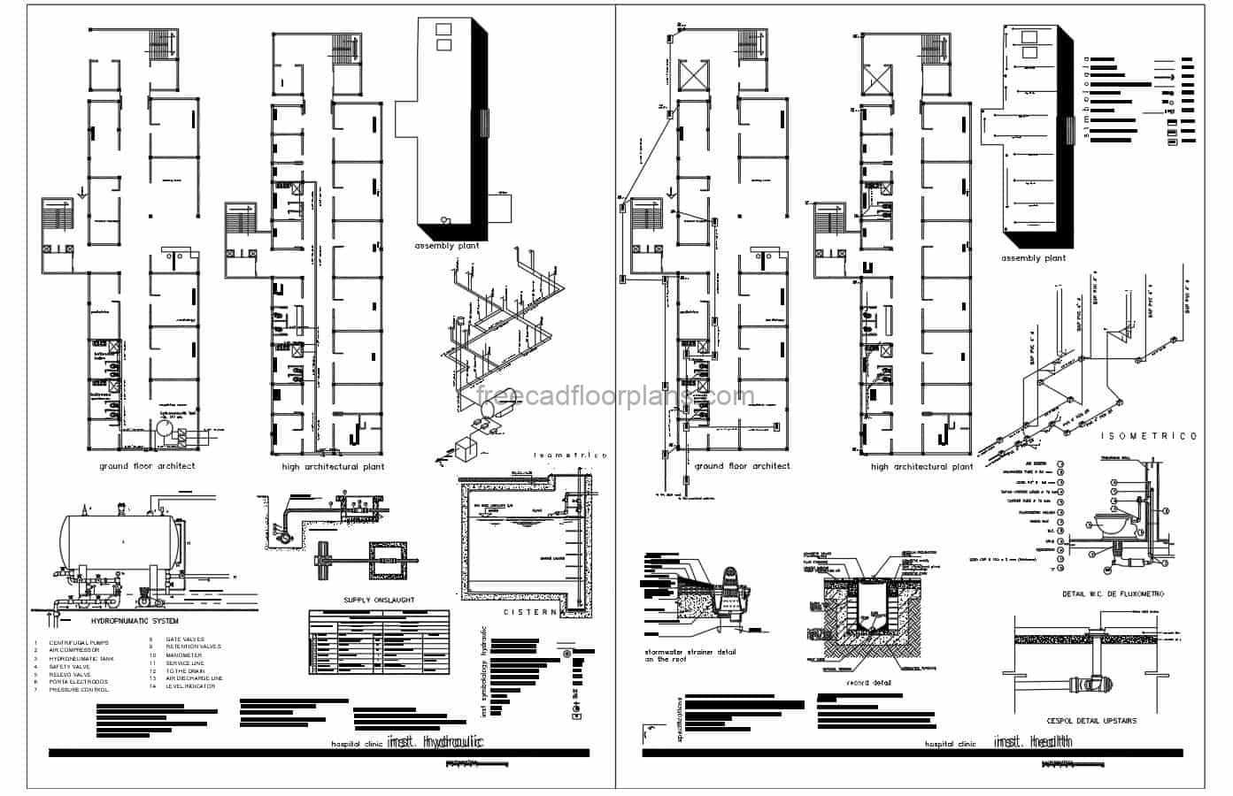 Complete architectural design of a two level health center with surgery, cardiology, pediatrics and other health center spaces. The complete project includes sanitary isometrics, foundation details, water supply plans, electrical and structural plans, technical details, emergency exits plan in the clinic. Free AutoCAD drawings for download in DWG format.