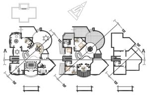 AutoCAD DWG plans of a modern style two level residence with pool area, interesting volumetrics mixing curved and rectangular shapes, interior space furnished with AutoCAD blocks. Basic architectural layout with three bedrooms on the second level and large terrace, first level living room, kitchen, dining room, family room, terraces, patio with pool and jacuzzy. plans for free download in DWG format