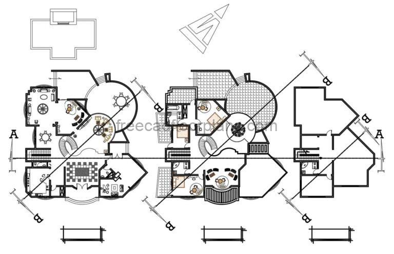 Two Storey Modern Residence With Swimming Pool Autocad Plan,0103211