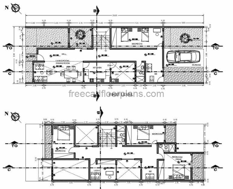 Four Bedrooms Two Storey Residence Autocad Plan, 2103211