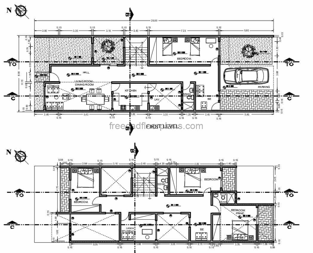 2d floor plan of a two level rectangular elongated residence with four bedrooms in total, three bedrooms on the second level, and a double bedroom on the first level. The residence is integrated to several green areas on the first level. Simple and efficient layout for narrow spaces. Plans with dimensions and autocad blocks for free download in dwg format.
