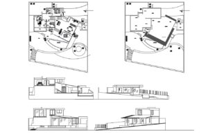 Architectural and dimensioned plans of a modern residence on a sloping lot with three bedrooms, including double bedroom, swimming pool, terrace, double garage and other basic social spaces. Plans with facades, dimensioned floor plans, architectural floor plans for free download in DWG format.