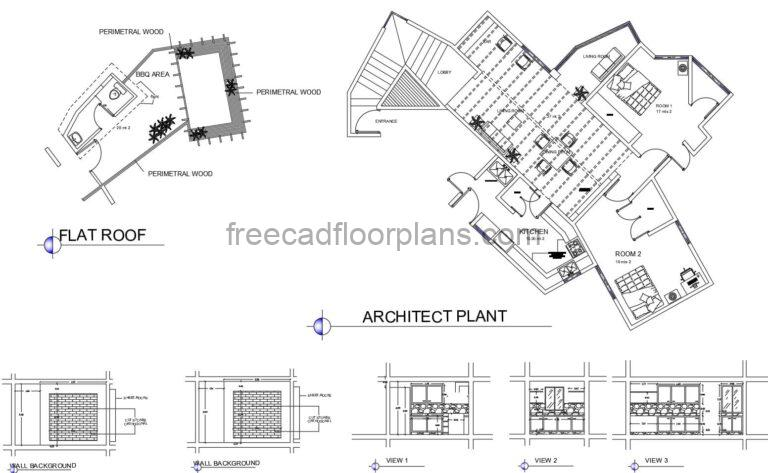 Architectural and dimensioned plans of simple two bedroom country house with bbq area on the roof, interior kitchen and living room block details, dimensioned floor plan and elevations in AutoCAD DWG format.