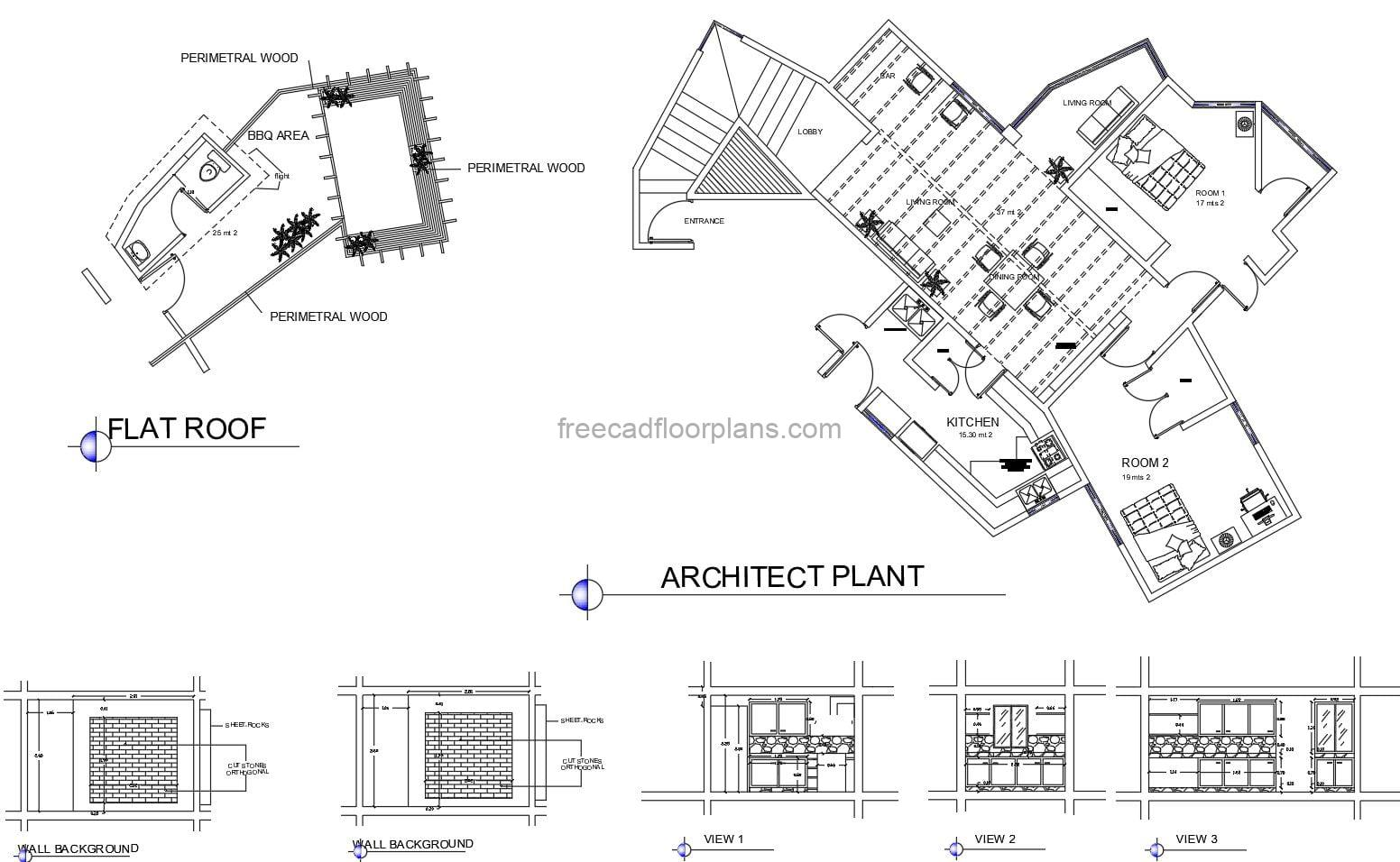Simple Country House With Bbq On Roof Autocad Plan 1104211 Free Cad Floor Plans