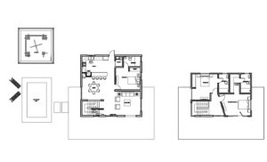 autocad dwg plans of a two level three bedroom country villa with perimeter terrace, swimming pool and outdoor gazebo area. free downloadable autocad dwg floor plan with furniture in dwg block format.