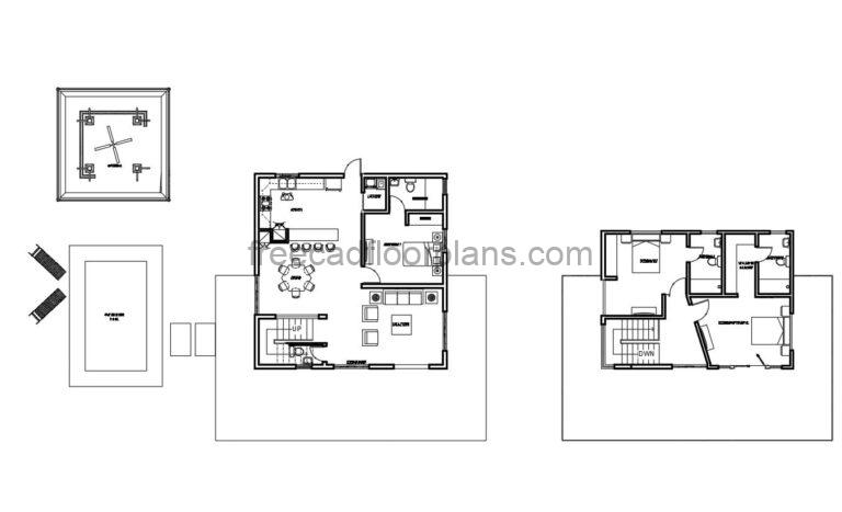 Two-story Villa With Perimeter Terrace  Autocad Plan, 1804211