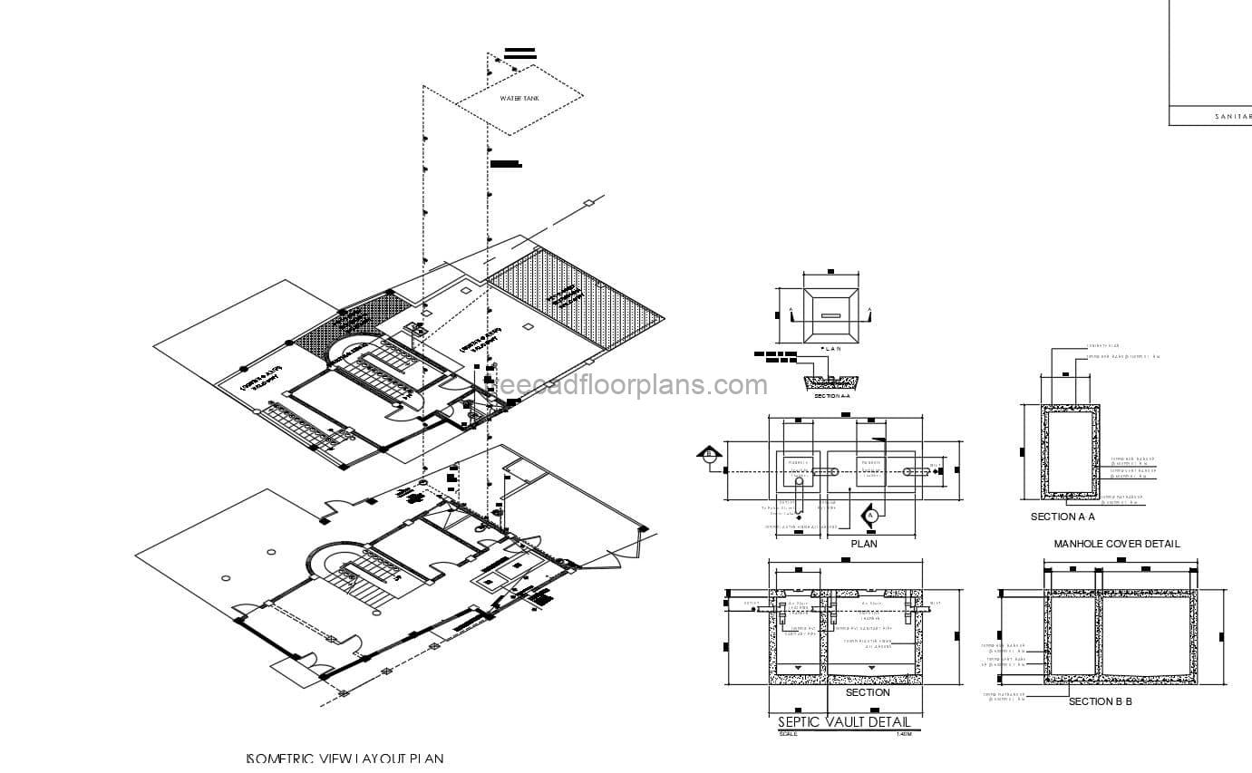 Sanitary Plant With Isometric Details DWG Autocad free download