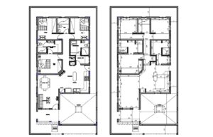 architectural and dimensioned plans for a one level residence with three bedrooms, with additional maid's room, laundry area, living room, kitchen and dining room on the first level. Free downloadable autocad drawings with dimensions and blocks in autocad dwg format.