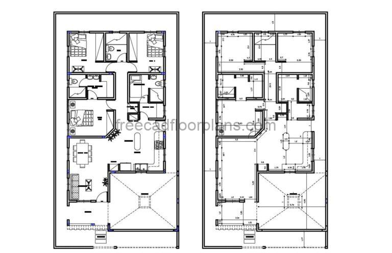 One-story 3 Bedrooms House Autocad Plan, 1304211