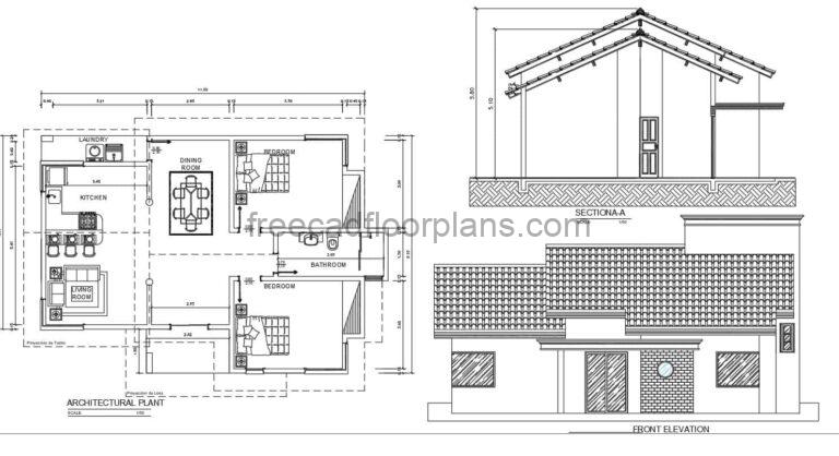 Simple One Level House With Shingles  Autocad Plan, 2304211
