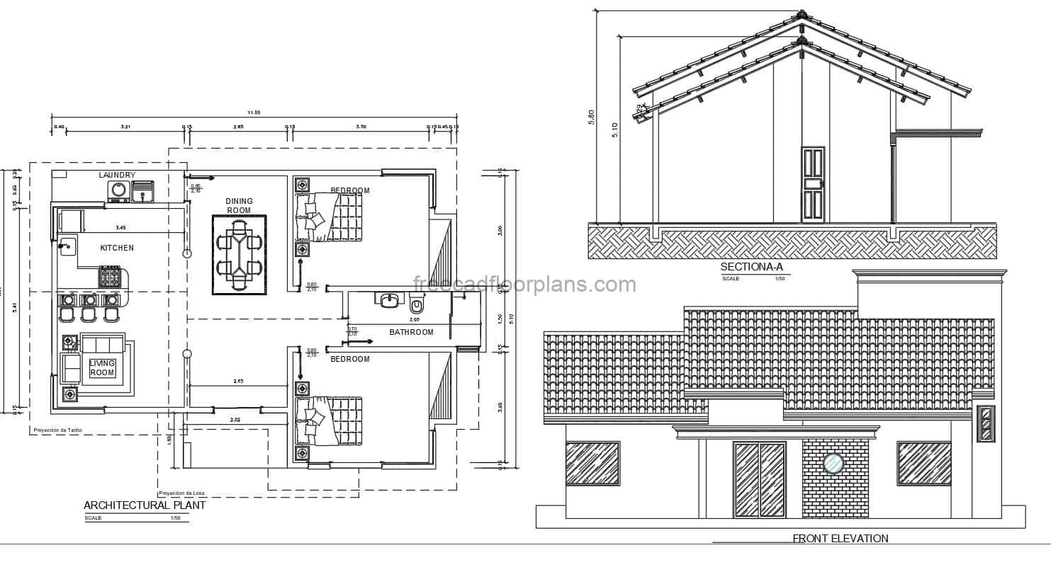 architectural plans with dimensions and furniture in Autocad blocks of a simple two-bedroom residence with a sloping tile roof. free downloadable AutoCAD DWG floor plan with dimensions and construction details.