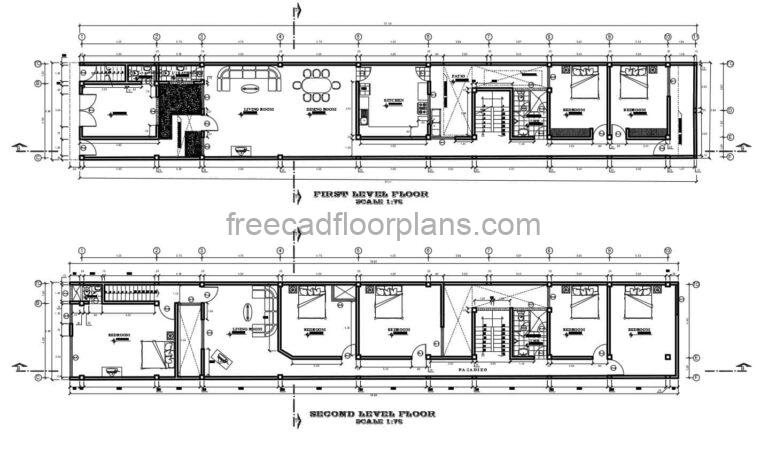 complete architectural project in autocad dwg drawings of a two level residence with seven rooms in total, architectural plans, dimensioned, elevations, sections and technical drawings with foundations, sanitary, electrical, structural. Project in dwg drawings for free download