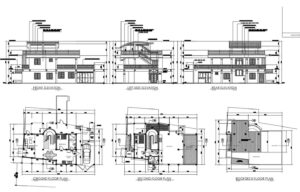 Autocad dwg format plans of Modern Two Level House With Details of Materials in facades, mirror of water in architectural plant of first level, complete blueprint with defined plans for free download.