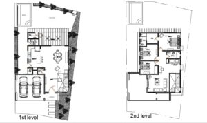 Two level residence with back veranda two level house plans with three bedrooms on the second level, back veranda with patio area, jacuzzy and bbq. free downloadable plans in autocad dwg format.