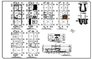 Two Storey House Complete Project Autocad Plan, 604211