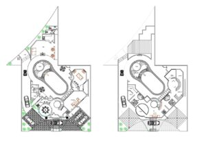 Two level villa plans with two large bedrooms and large patio area with pool, jacuzzi, playground and recreation areas. Circular staircase in the center and social area on the first level with living rooms, kitchen and dining room. Plans for free download in AutoCAD dwg format.