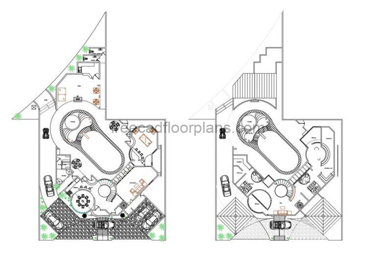 Two-story Villa With Swimming Pool  Autocad Plan, 2204211