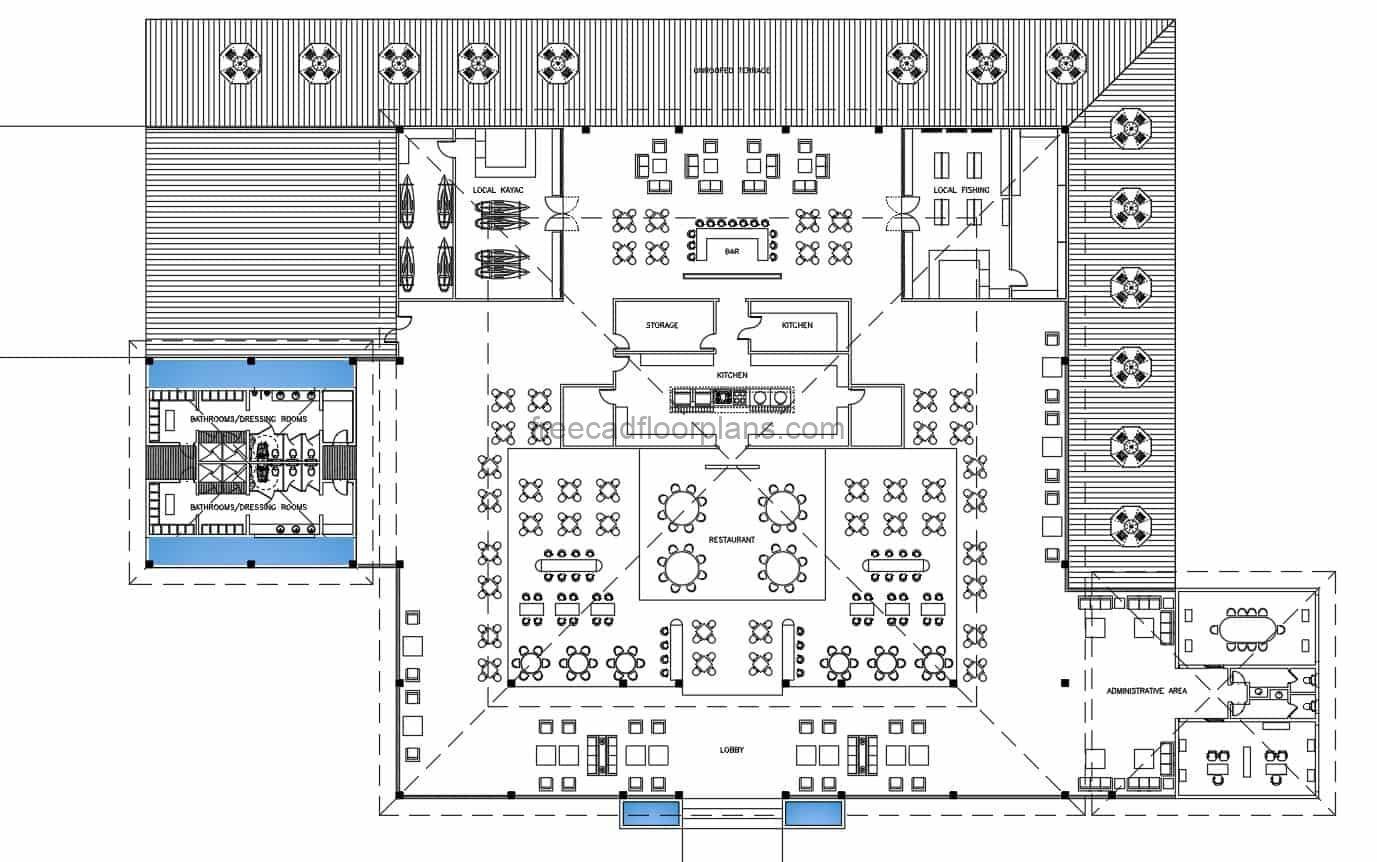 Architectural and furnished plan with 2D blocks in AutoCAD DWG format of a complete riverside restaurant, with kitchen areas, dining areas, offices, plans for free download.