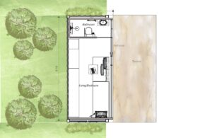 Small 20 ft. Container House with one bedroom and bathroom, dimensioned and architectonic plan for free download