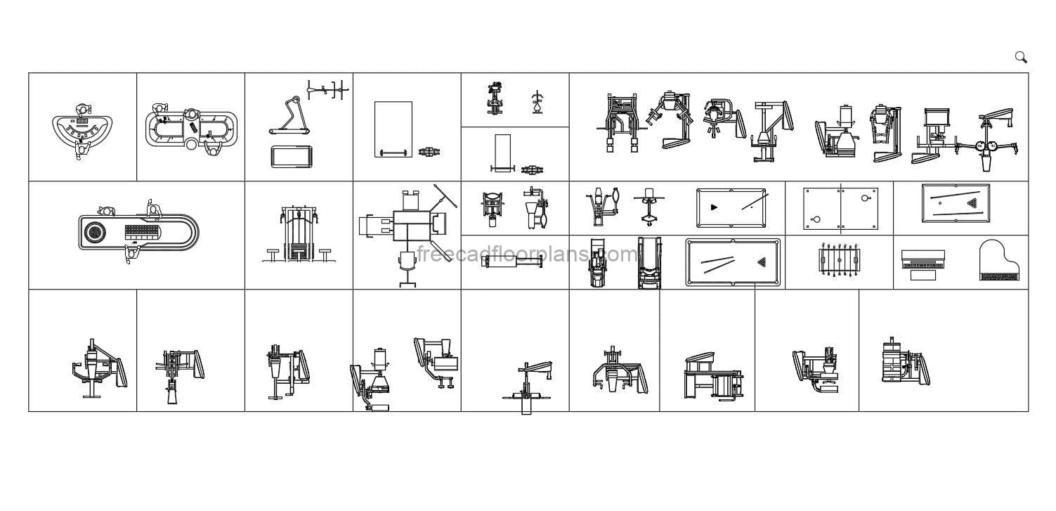Gym Equipment and Board Games elevation and floor plan views in AutoCAD DWG block format for free download.