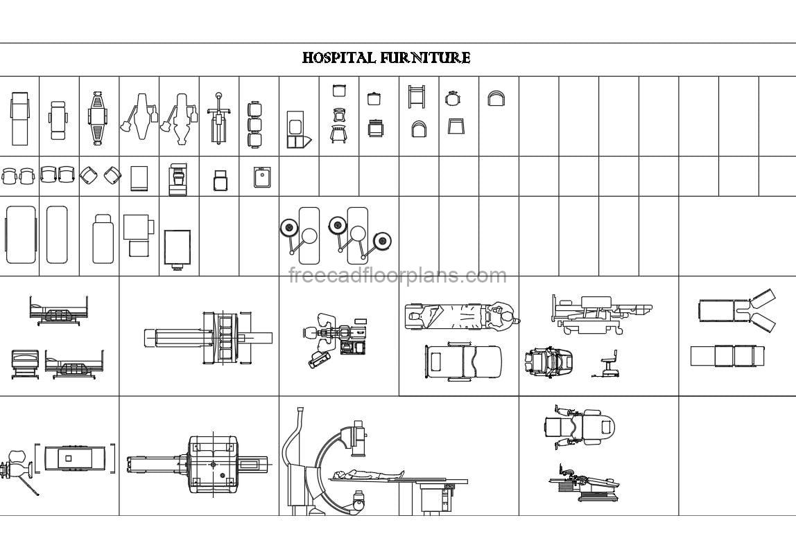 DWG file with collection of hospital furniture blocks, including stretchers, seats, desks, equipment, 2D drawings, plan views and some elevations, for free download.