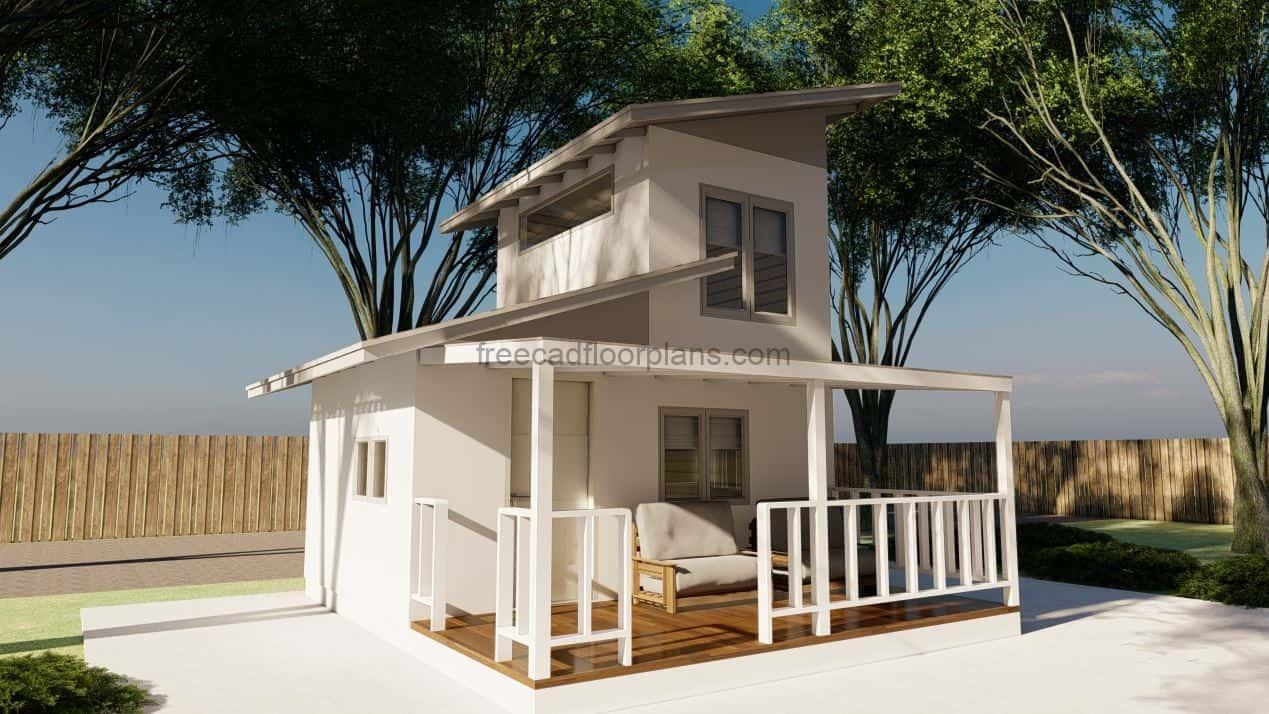 Autocad dwg drawings of tiny minimalist house with loft style bedroom
