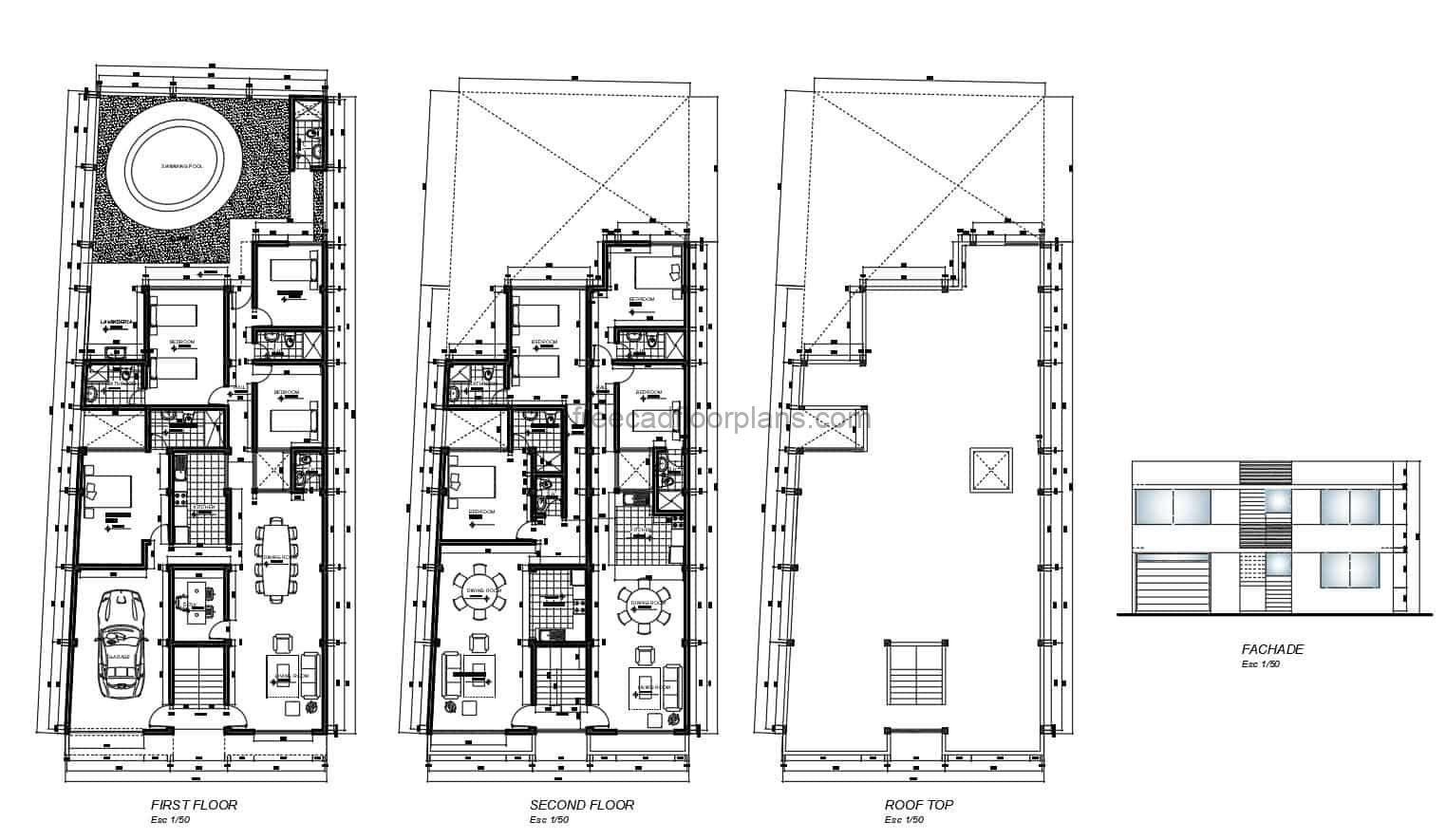 Floor plans with dimensions and details of two-story multi-family house and several 2 and 4 bedroom houses with large yard and pool, floor plan with facade and interior autocad blocks for free download.