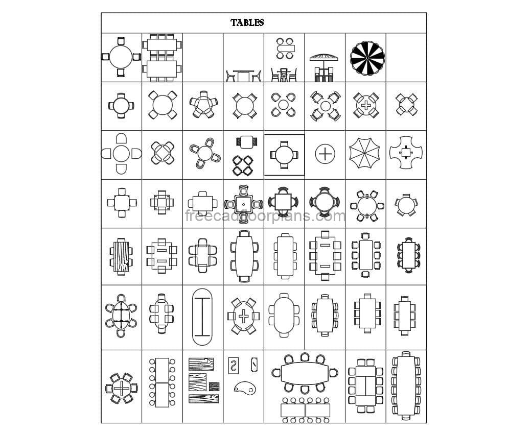 Dining Tables autocad blocks for free download