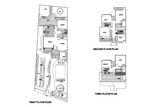 3 Level Residence With Service Room in AutoCAD DWG dimensions, residence with front and back gardens, storage, social areas on first level and service room on third level including patio and laundry area. Free AutoCAD DWG format plans for download.