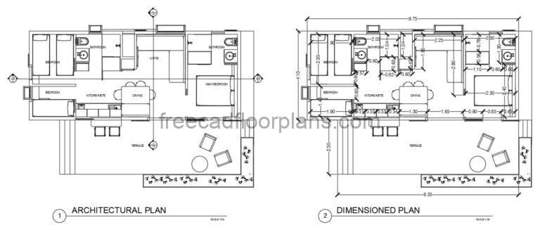 3 bedrooms tiny house plan in dwg Autocad format design with dimensions and details