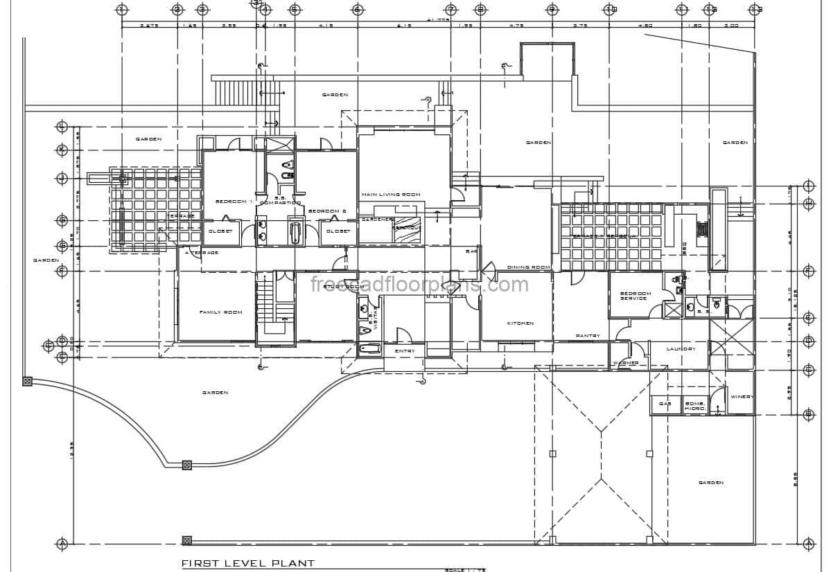 Large Country House With Five Bedrooms and Fireplace, complete project plan in AutoCAD DWG format, dimensioned floor plan, architectural with interior blocks, facades and sections. Two level country villa with exterior gardens, large patio, bbq area and social areas on first level. AutoCad DWG floor plan for free download
