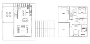 Two Level Country Residence With Pergola and Terraces in autocad dwg format plans for free download, architectural and dimensioned floor plan.