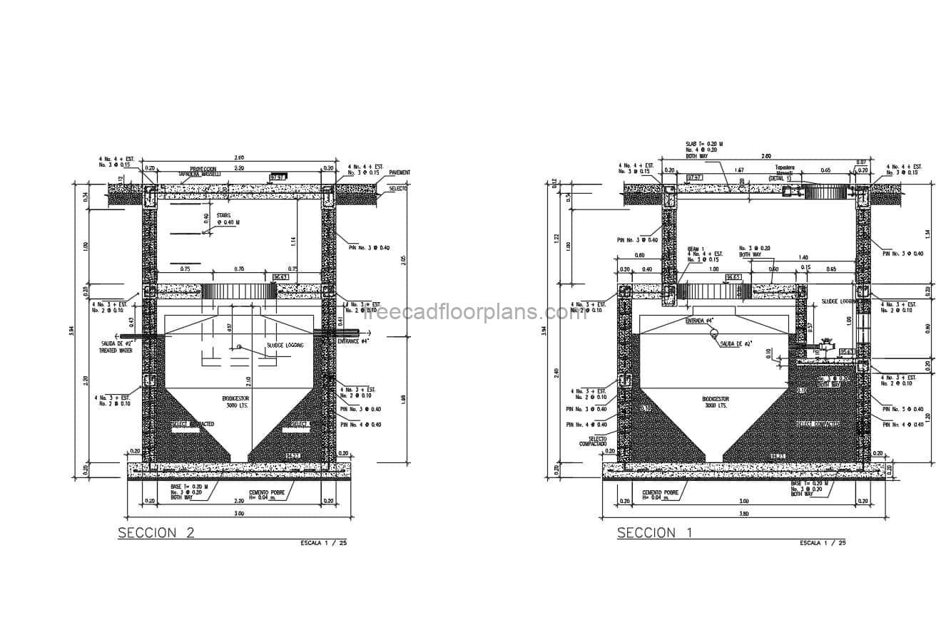 Detail De Biodigestor in AutoCAD DWG format for free download, details with dimensions and material and steel specifications, plan and elevation details.