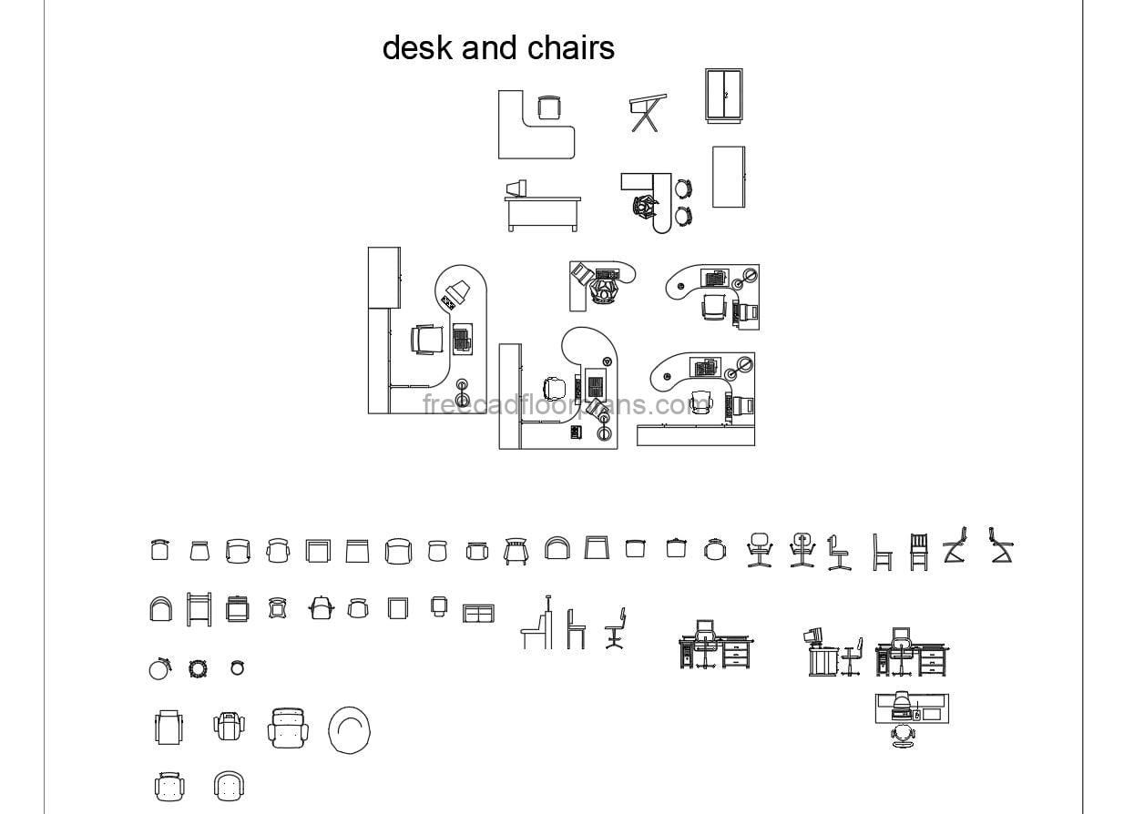 AutoCAD blocks of office desks and chairs, L-shaped desks, semi-circular desks, corner desks, plan drawings and some elevation drawings, the block also contains different models of office chairs and sofas, AutoCAD DWG files for free download.
