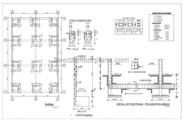 Column And Footing Reinforcement Details DWG Autocad, 305212