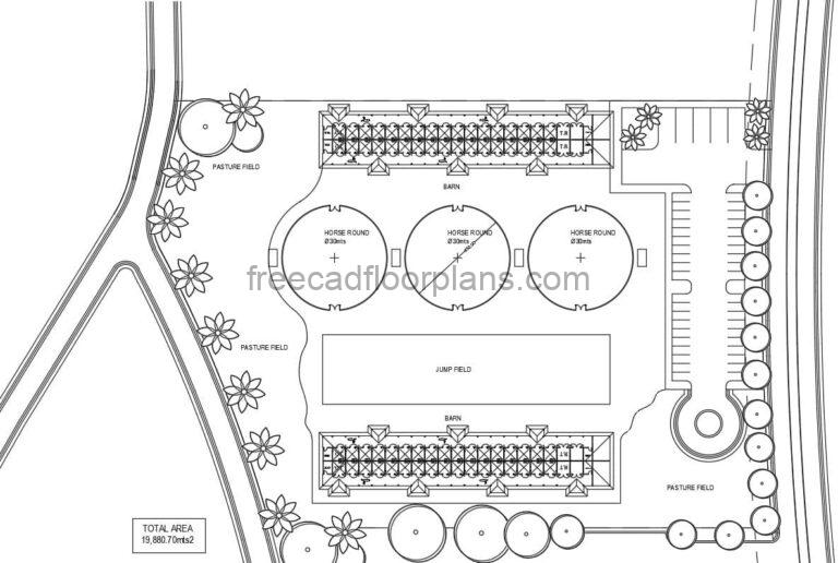 Horse Stable with pasture area and rounds for horses, 2D drawing in DWG format for free download with Autocad blocks, floor plan design with surface area measurements.
