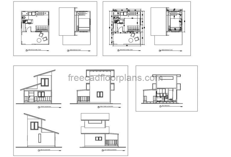 Autocad dwg drawings of tiny minimalist house with loft style room