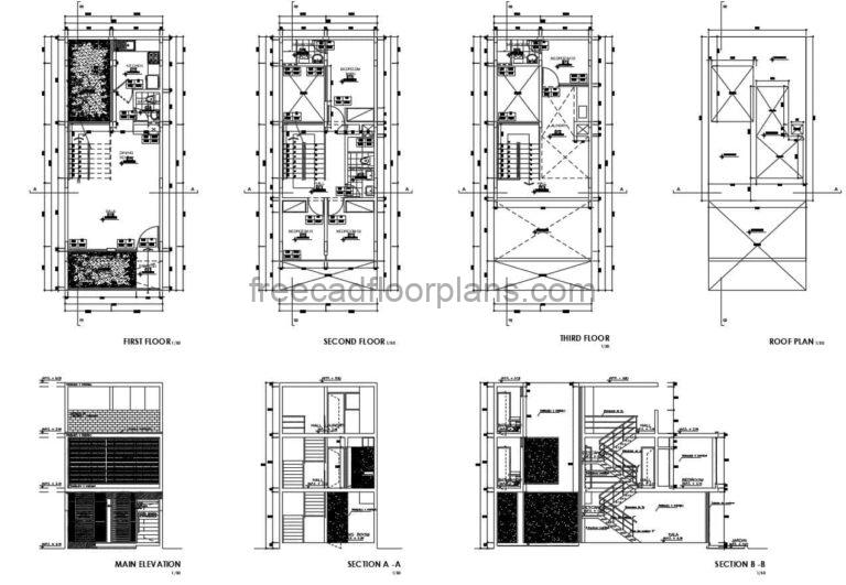 Architectural plans with measurements of a three level residence with four bedrooms and interior autocad blocks for free download in Autocad dwg format, laundry area on terrace and social area.