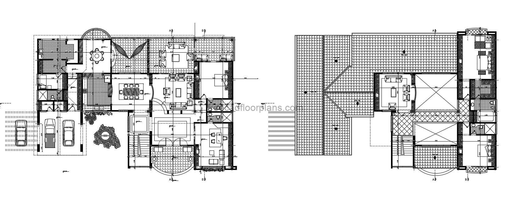 Two Level Villa With Terraces in full Autocad dwg format floor plans, floor plans with dimensions and interior Autocad blocks, villa with four bedrooms and terraces on several levels. free downloadable floor plan 2d dwg format