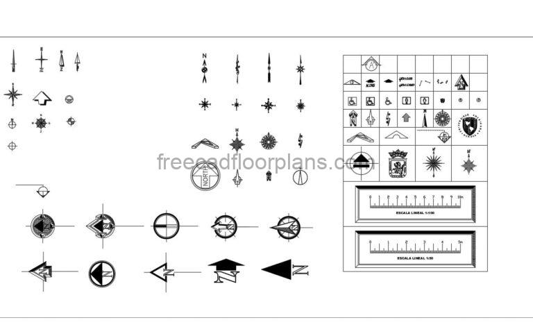 AutoCAD block collection in DWG format of nortes symbols for free download