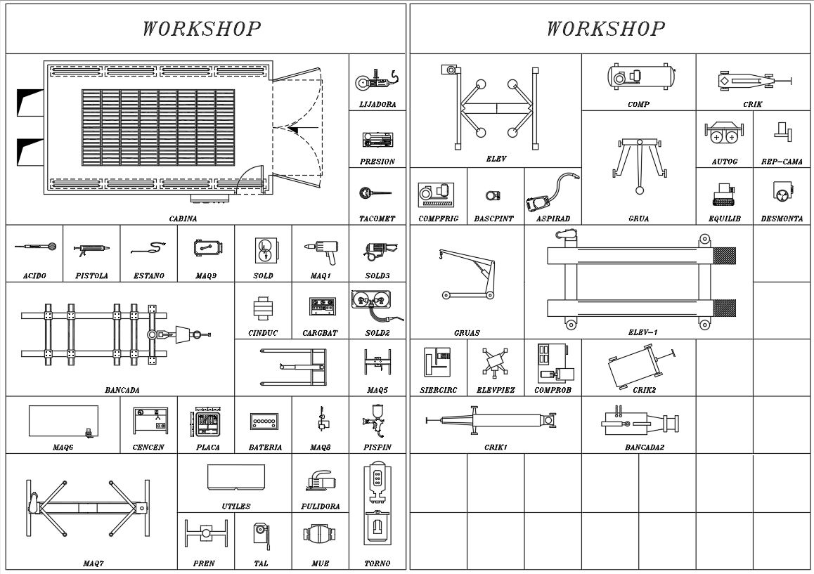 autocad blocks of Workshop Tools and Machines for free download