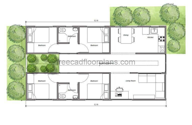 Four-Bedrooms Shipping Container House, AutoCAD Plan