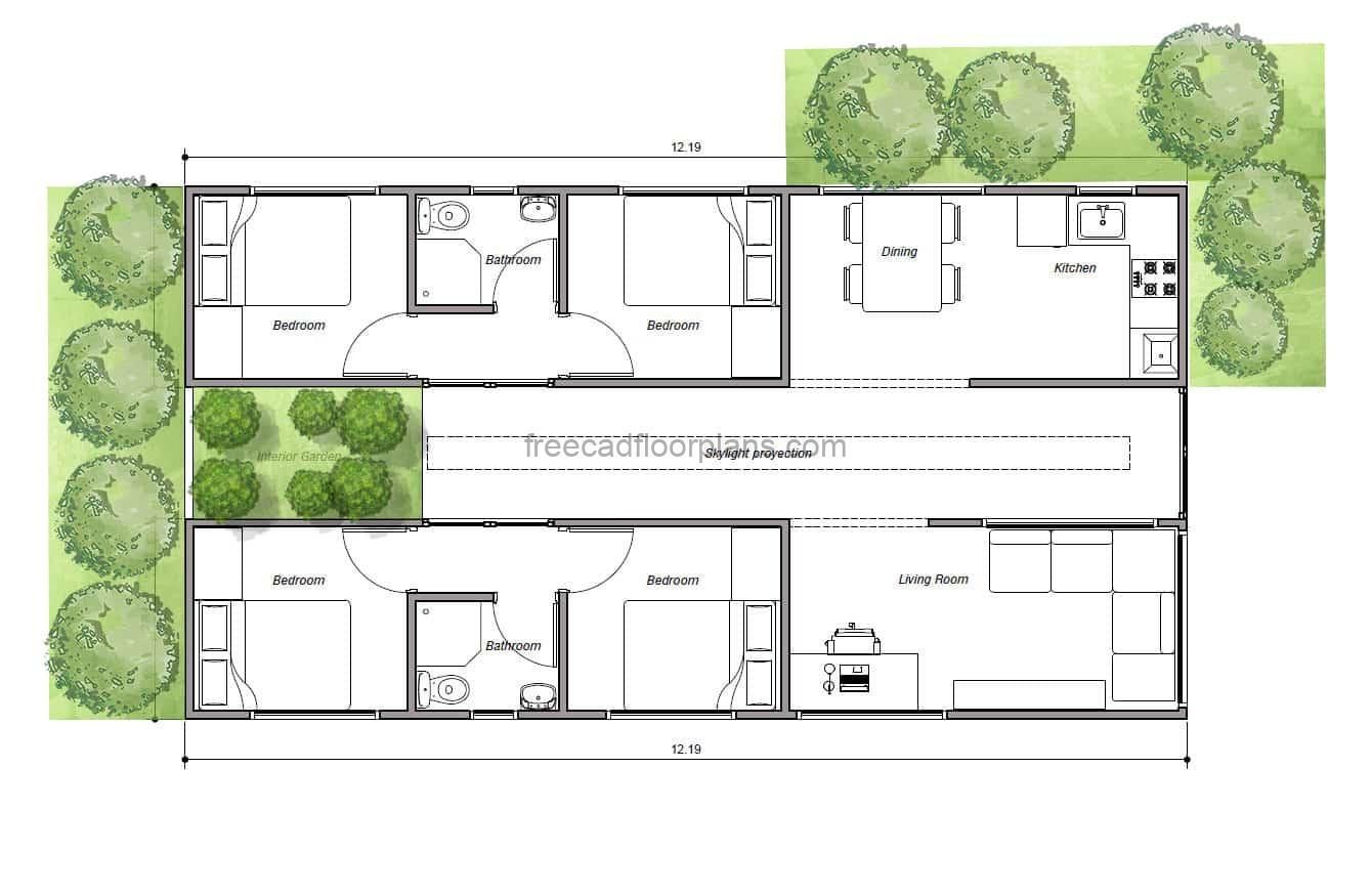 4 bedrooms container house autocad plan dwg for download pdf format