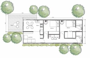one storey container house with two bedrooms, autocad dwg floorplans with dimensions and pdg version
