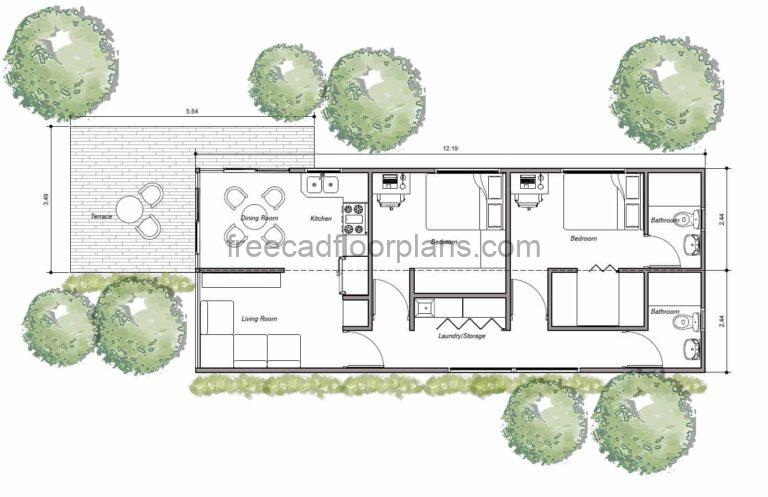 Two-Bedrooms Shipping Container House, AutoCAD Plan