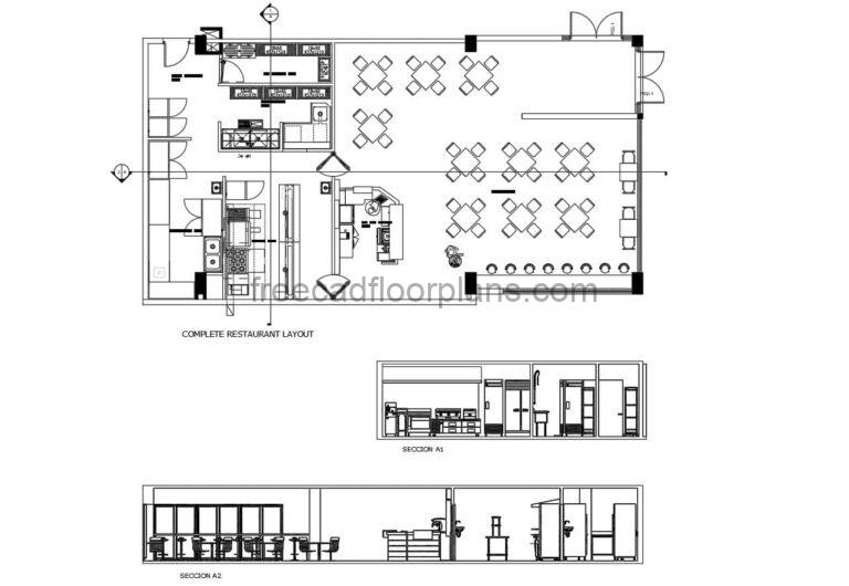 bar and restaurant dwg autocad layout with full kitchen and table area